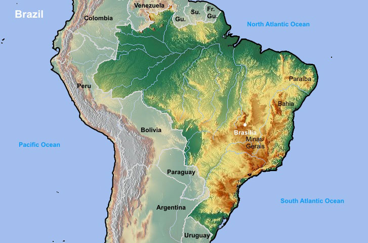 рельеф Бразилии